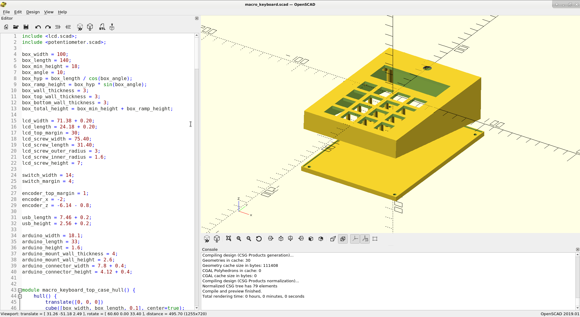 Screenshot of OpenSCAD with the keyboard design
